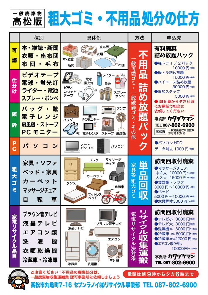 「折り込みチラシ × カタヅケマン」:デザインサンプル(コピーマック)