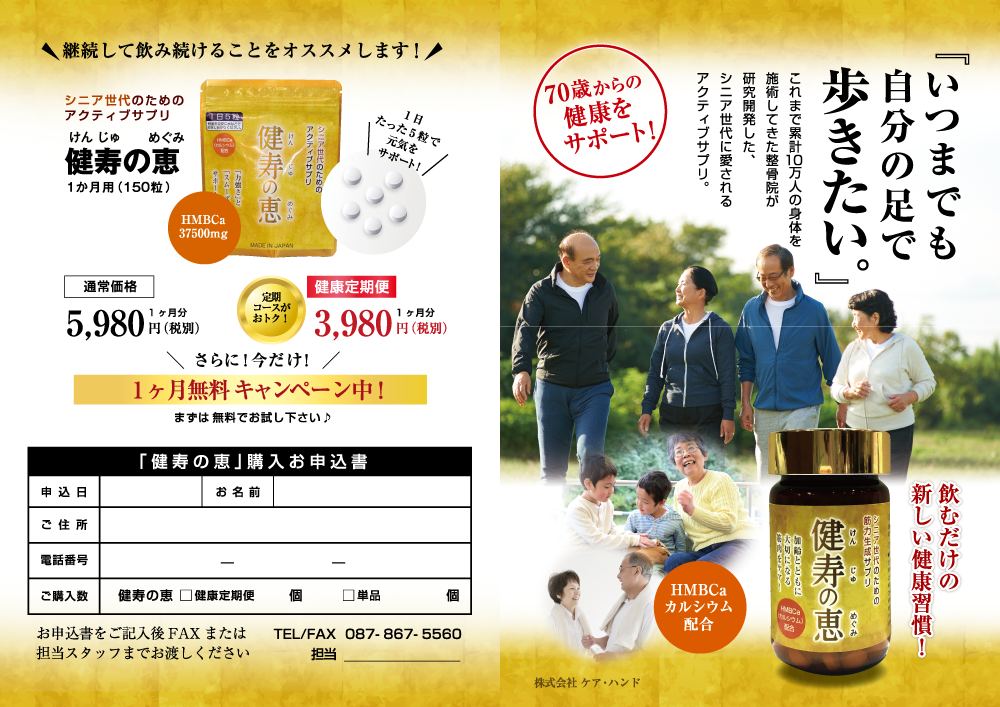 「チラシ作成×ケアハンド」:デザインサンプル(コピーマック)