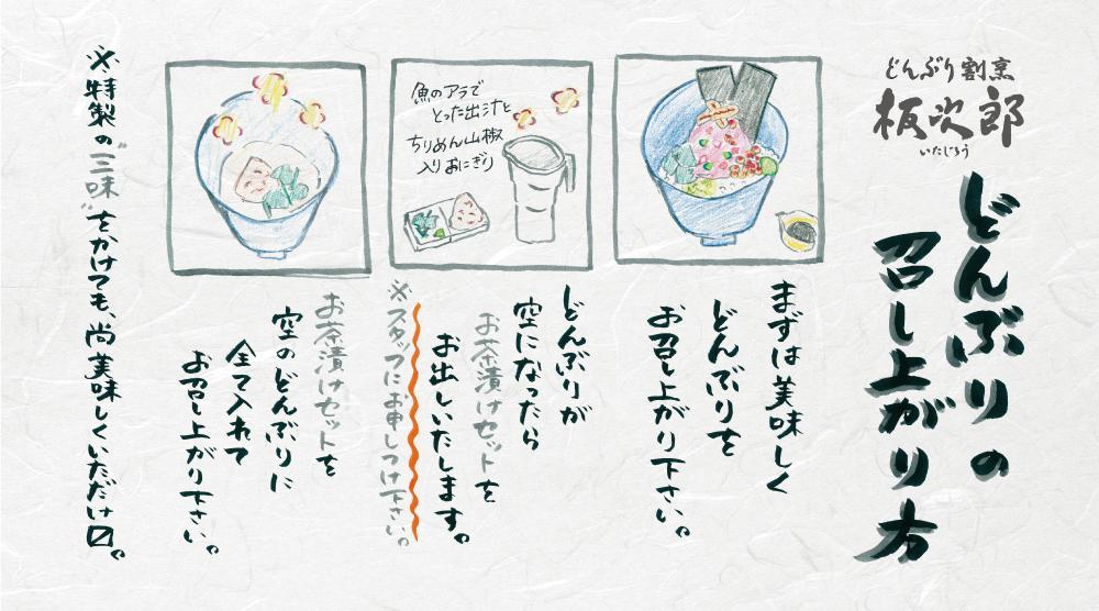 「チラシ×どんぶり割烹 板次郎」:デザインサンプル(コピーマック)